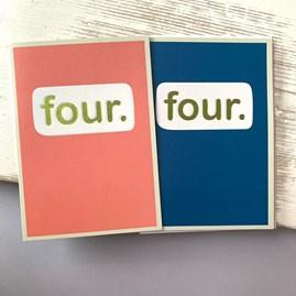 'Four.' Children's Birthday Card
