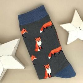 Men's Bamboo Fox Socks in Charcoal