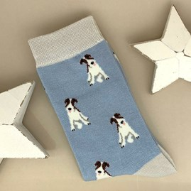 Bamboo Fox Terrier Socks in Powder Blue