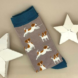 Men's Bamboo Jack Russell Socks in Taupe