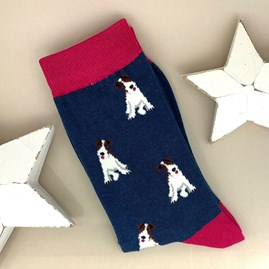 Bamboo Fox Terrier Socks in Navy