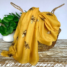 Metallic Bees Scarf In Yellow