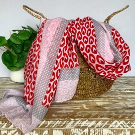 Drops Print Scarf In Red