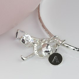 Personalised Equestrian Silver Charm Bangle