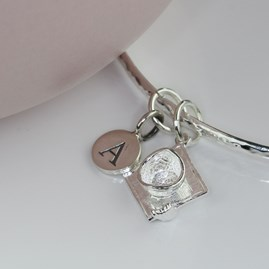 Personalised Graduation Silver Charm Bangle