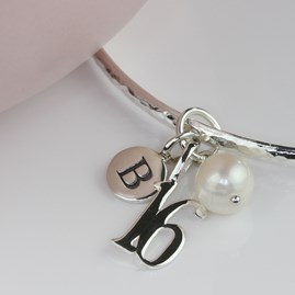 Personalised Birthday And Freshwater Pearl Bangle