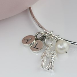 Personalised Bride And Groom Silver Charm Bangle