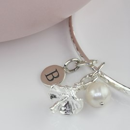 Personalised Ballerina And Freshwater Pearl Bangle