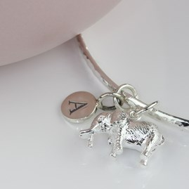 Personalised Hammered Bangle With Silver Elephant Charm