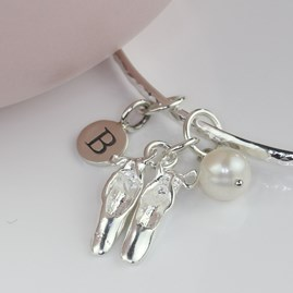 Personalised Ballet Shoe And Freshwater Pearl Bangle
