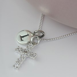 Personalised Semi Precious Stone Cross Necklace