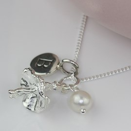 Personalised Ballerina And Freshwater Pearl Necklace