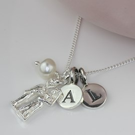 Personalised Bride And Groom Silver Charm Necklace