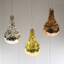 Hanging Mirrored Metallic Light Bulb Light