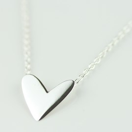 Cariad Polished Silver Heart Necklace