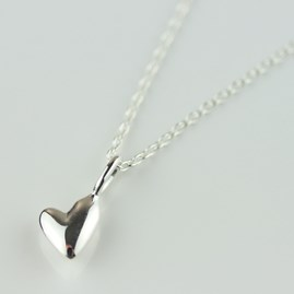 Devotion Polished Silver Heart Necklace