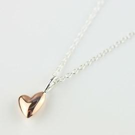Devotion Polished Rose Gold Heart Necklace