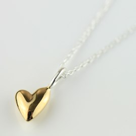 Devotion Polished Gold Heart Necklace