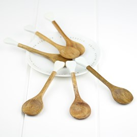 Wooden Sugar Spoon With White Tip Handle