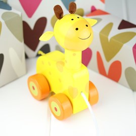 Hand Painted Wooden Giraffe Pull Along
