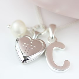 Personalised Child's Christening Locket With Pearl