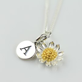 Personalised Silver And Gold Daisy Necklace