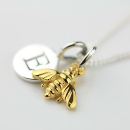 Personalised Miniature Gold Bee Necklace