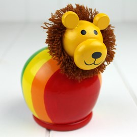 Hand Painted Wooden Lion Moneybox