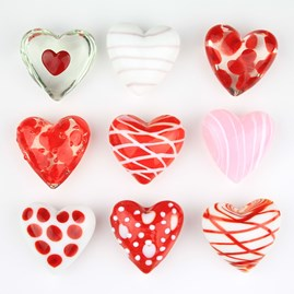 Nine Mini Glass Decorative Hearts