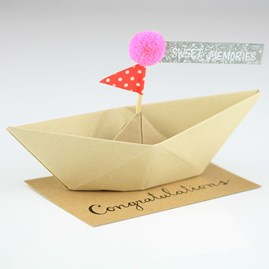 'Congratulations' Origami Boat Greeting Decoration
