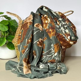 Khaki Abstract Floral and Vine Print Scarf