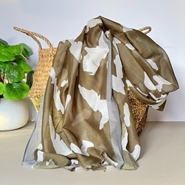 Khaki and Taupe Abstract Stripe Scarf with Colour Block Border