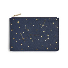 Katie Loxton Personalised Gold Print Perfect Pouch 'One In A Million' In Navy