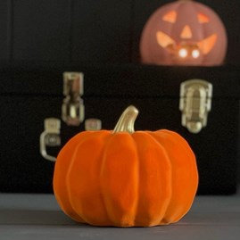 Large Orange and Gold Ceramic Pumpkin Decoration