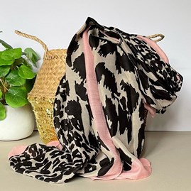 Leopard Print Scarf with Pink Border