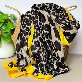 Leopard Print Scarf with Yellow Border