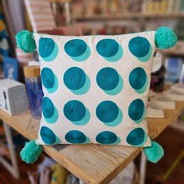 Letterpop Spots Embroidered Teal & Mint Cushion