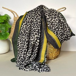 Light Grey and Green Leopard Print Border Scarf