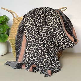 Light Grey and Pink Leopard Print Border Scarf