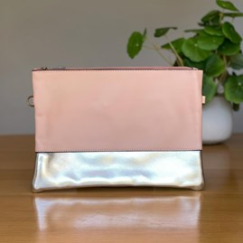 Light Pink and Metallic Silver Clutch Bag