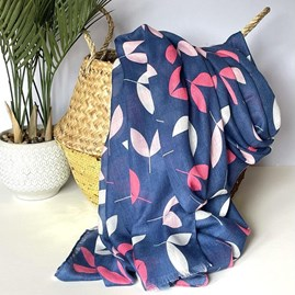 Little Leaves Scarf in Navy