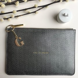 Katie Loxton Personalised 'Live To Dream' Charcoal Pouch