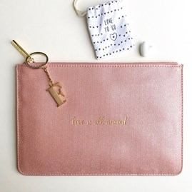 Katie Loxton Personalised 'Love Is All Around' Soft Pink Pouch