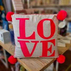 'LOVE' Square Coral Cushion