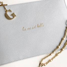 Katie Loxton Personalised 'La Vie Est Belle' Soft Grey Pouch