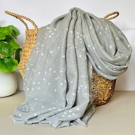 Medium Grey Scarf with Gold Small Moon and Stars Print
