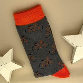 Men's Bamboo Bike Socks in Grey