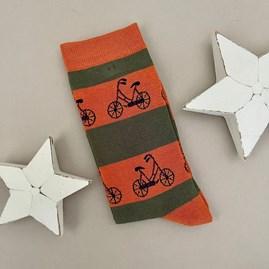 Men's Bamboo Bikes Socks in Orange