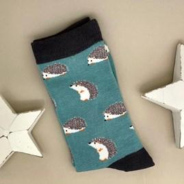 Men's Bamboo Cute Hedgehog Socks In Turqouise
