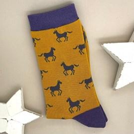 Men's Bamboo Horses Socks In Mustard